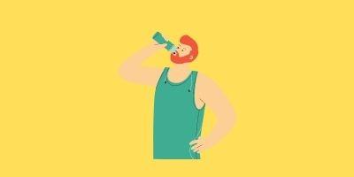 水を飲む男性ロゴ